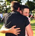 31July2011  Russell Boring and Mike Turley embrace after winning  the Kalamazoo Country Club Invitational Sunday afternoon afternoon.   (Special to the Gazette / John A. Lacko)