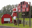 The Bangor High School Vikings have this giant next to the scoreboard at the schools football field.