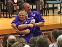 11June2011  Vicky and Monte Learn acknowlege the applause of people who attended a memorial service for their son, Adam, 14, who died June 6. The service was held in the Three Rivers High School Auditorium Saturday afternoon.  (Special to the Gazette / John A. Lacko)