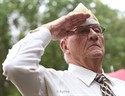 29May2011  World War II veteran Bill Taylor, State Commander of the DAV of Mears salutes during the  Memorial Day Ceremony at the Fort Custer National Cemetary Sunday afternoon sponsored by the Fort Custer National Cemetery Advisory Committee.  (Special to the Gazette / John A. Lacko)