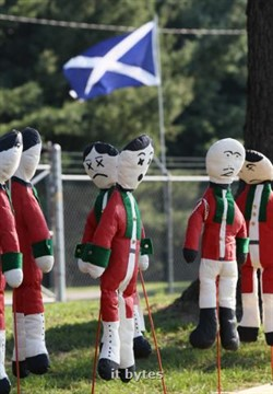 25August2012 Combat figures are ready for action at the twentieth annual Kalamazoo Scottish Festival Saturday morning at the Kalamazoo County Expo Center. ( John A. Lacko / Special to the Gazette)