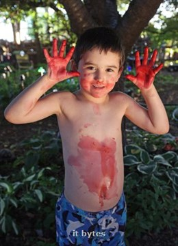 05July2011  Six-year-old William Head, grandson of Paul and Brenda Mergen, shows the results of eating mulberries from the mulberry bush in their south Portage garden. (Special to the Gazette / John A. Lacko)