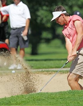 30July2011  Russell Boring of the University of California at Santa Barbara blasts out of the sand trap on 18 during the quarter finals of the Kalamazoo Country Club Invitational Saturday afternoon.   (Special to the Gazette / John A. Lacko)