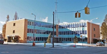 The Kalamazoo Public Safety Department was in this International style building on the corner of Rose and Lovell Streets until 2003.