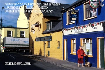 Colorful shops and homes line the streets of Dingle Kerry.
