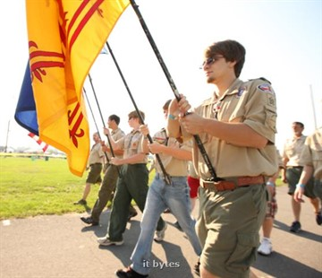 25August2012 Jacob Rose, 18 and other boy scouts from Troop 98 in Ostego provide the color guard for the opening of the twentieth annual Kalamazoo Scottish Festival Saturday morning at the Kalamazoo County Expo Center. ( John A. Lacko / Special to the Gazette)